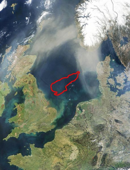 The red line marks where Dogger Bank used to be. Credit: NASA