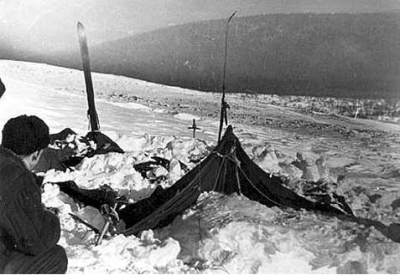 The hiker's tent as it appeared on the day it was found - 26th February, 1959