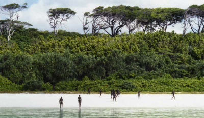 Sentinelese people on the shores of their island home