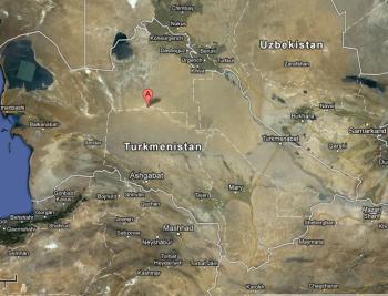 Location of Derweze in Turkmenistan