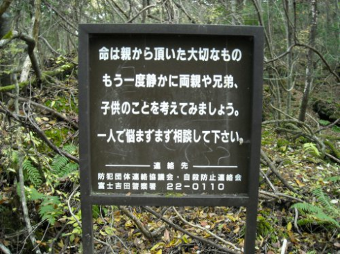 A sign urging visitors to think of their loves ones and seek help. (Source: http://studio360.wordpress.com/2008/11/14/your-life-is-a-precious-gift-from-your-parents/)