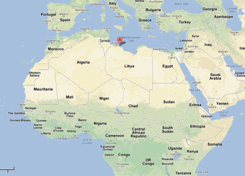 Location of Leptis Magna in Libya