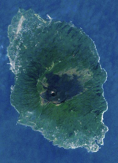 Satellite image of Izu Ōshima. Mt. Mihara is visible as the darker area
