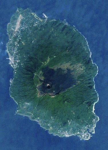 Satellite image of Izu Ōshima. Mt. Mihara is visible as the darker area