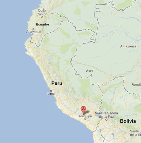Location of Mt. Amparo in Peru