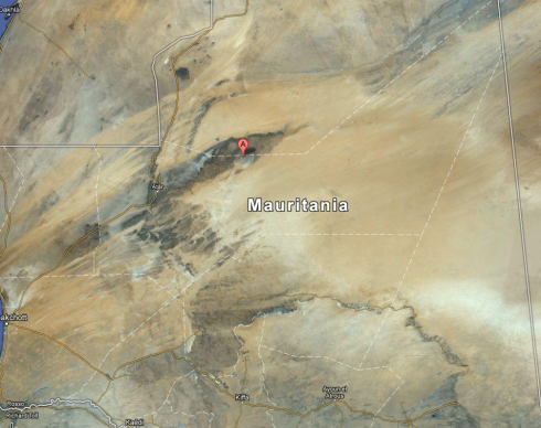 Distant satellite image of Mauritania - the structure is still visble