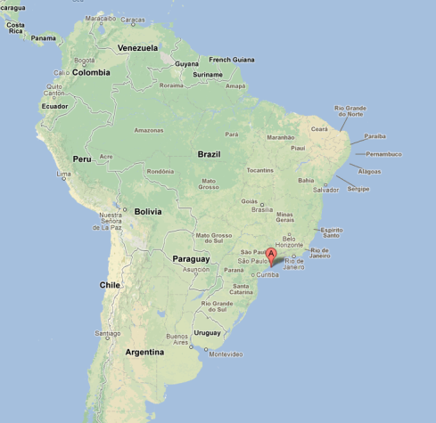 Location of the island just off the coast of Brazil